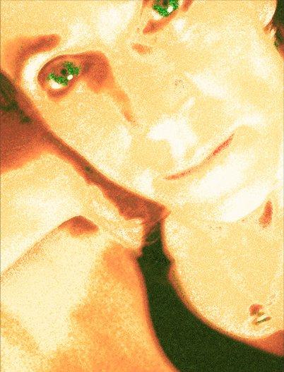 Self portrait in orange and green